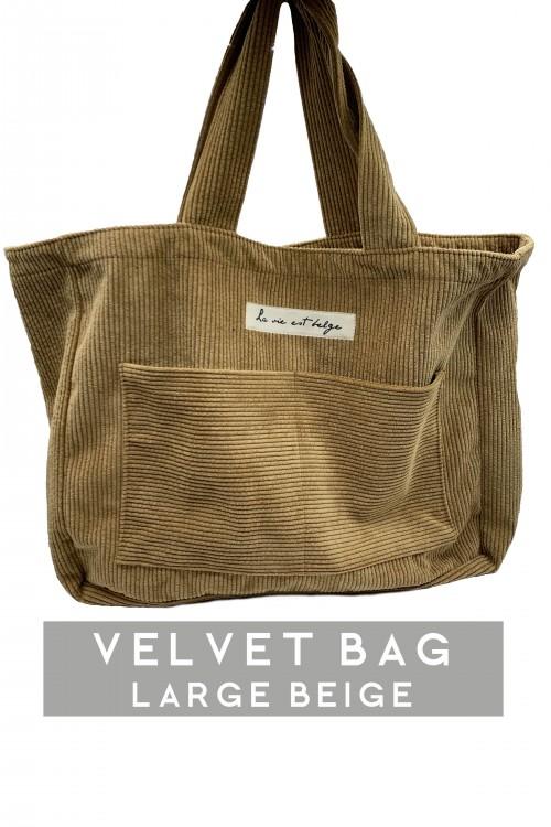 Large velvet beige bag