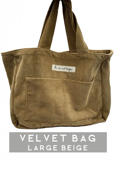 Large velvet beige bag