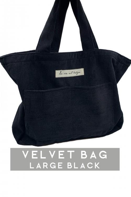 Large velvet black bag
