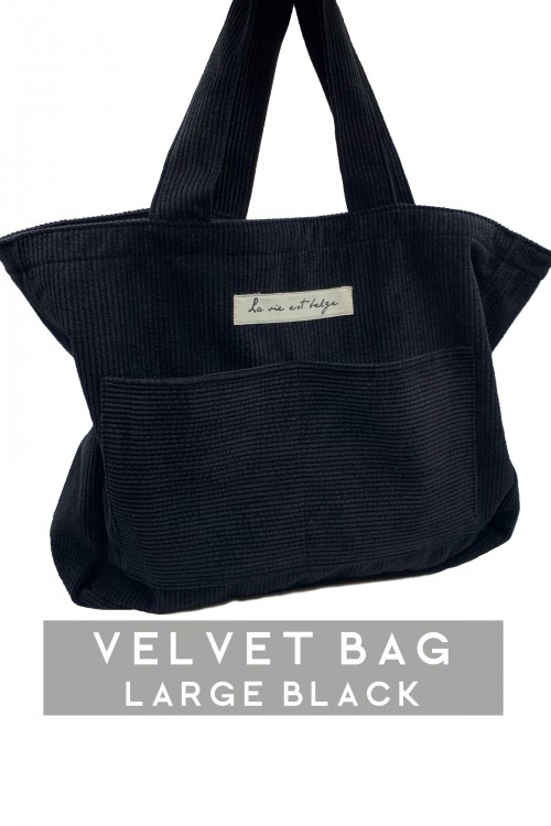 Large velvet black bag