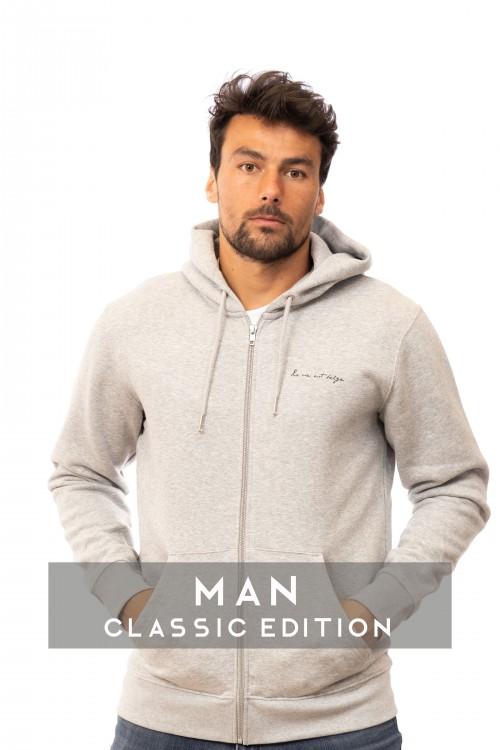 Classic light grey zip...