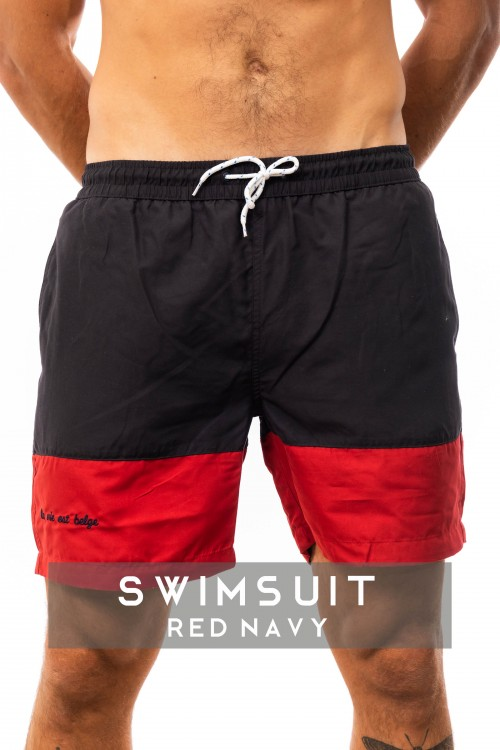 Swimsuit lined red / navy